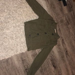 Green long sleeve cropped jacket